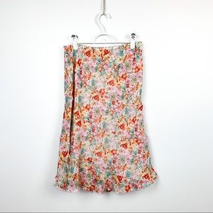 Beautiful Lapis Floral Print Mid Length Skirt